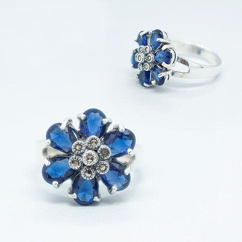 Marcasite flower ring #9