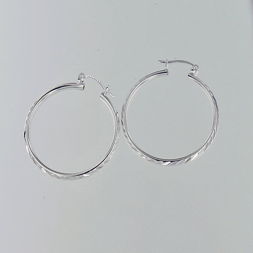Tube hoop earings | Diamond-cut