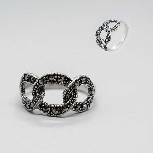 Marcasite linked hoops ring #8