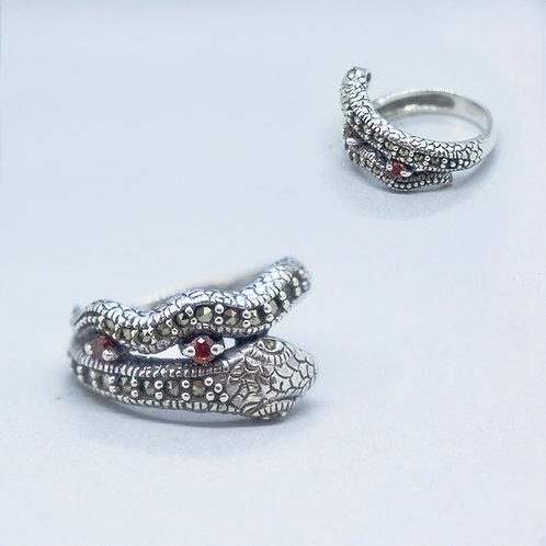 Marcasite snake ring #6.5