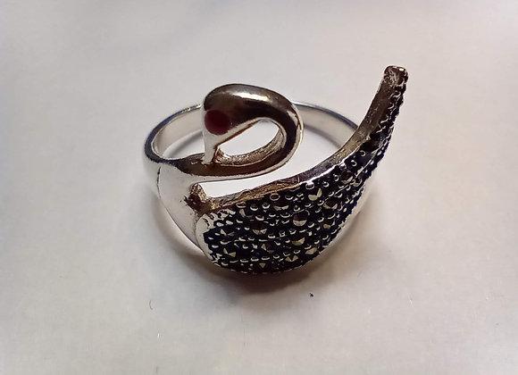 Swan marcasite ring #8.5