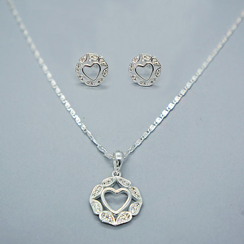 Heart necklace and earrings set