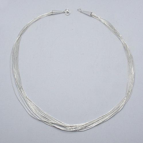 Liquid silver necklace   10 threads