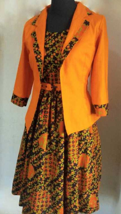African Print Flare Skirt Dress with Jacket