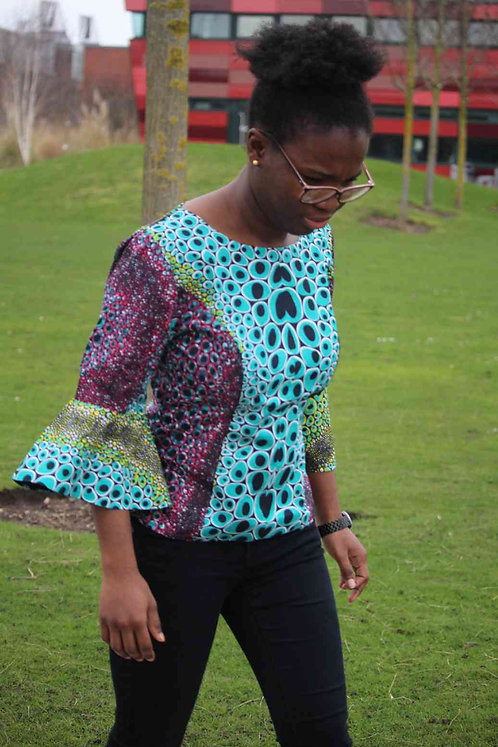 African Print Flared Sleeve Blouse