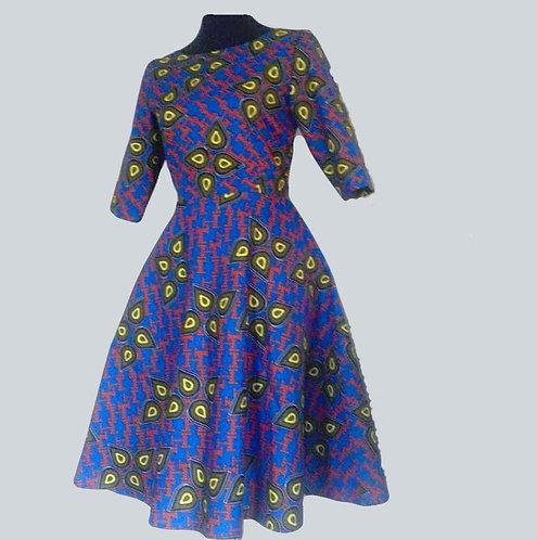 African Print Full Flare Dress