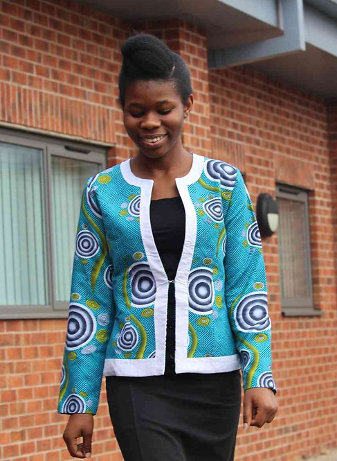 African Print Fitted Blazer