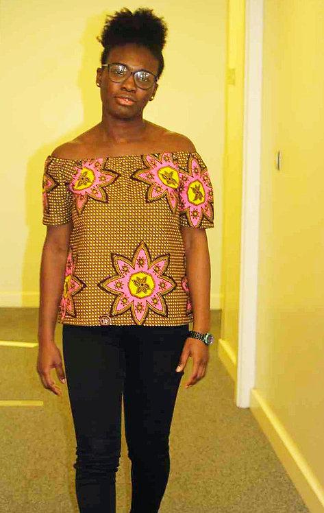 African Print Bardot Blouse