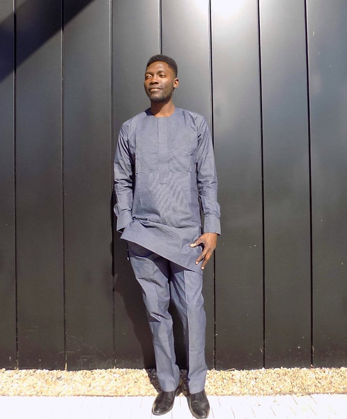 African Print Men Attire, African Men Clothing Dark Grey Long Shirt and Trousers
