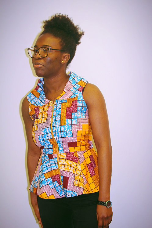 African Print Zipped Blouse