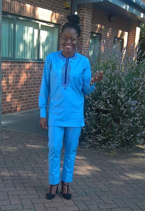 African Print Embroidered Shirt and Trousers