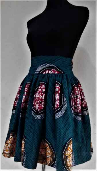 Colourful Pleated African Print Skirt