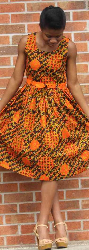 #D6 Sleeveless Flare Dress with Matching Belt