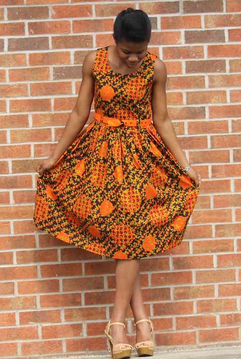 Orange African Print Flare Dress