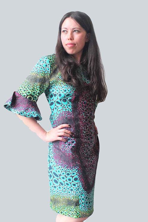 TD African Print Flare Sleeve Midi Dress