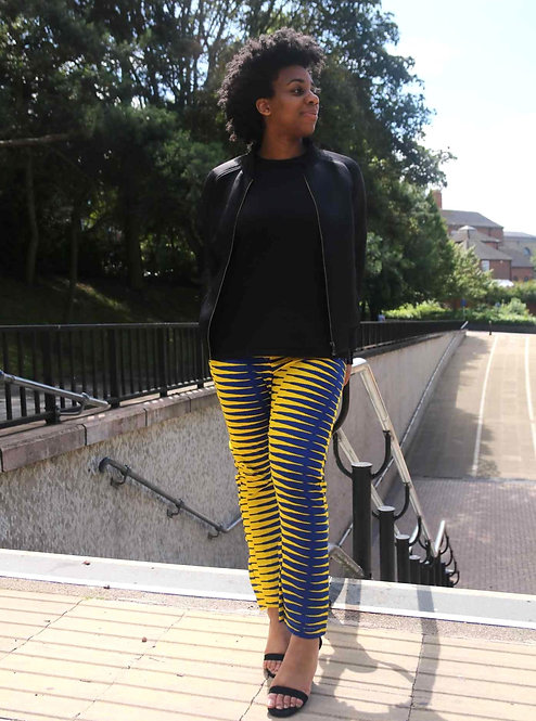 African Print Stripe Trousers
