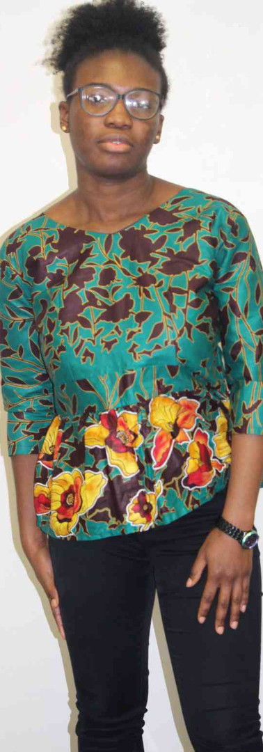 #B1 Blouse Wide Neck with Elbow Sleeve