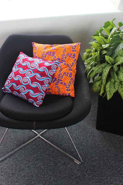 Orange African Print Cushion Cover