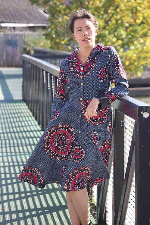 TDARE African Print Shirt Swing Dress