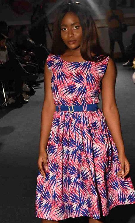 Blue Pink Mix Print Flare Dress