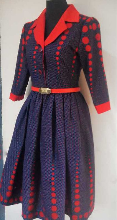 Elegant African Print Pleated Dress Fitted with Belt
