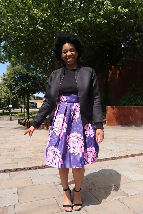 Pleated African Print Skirt