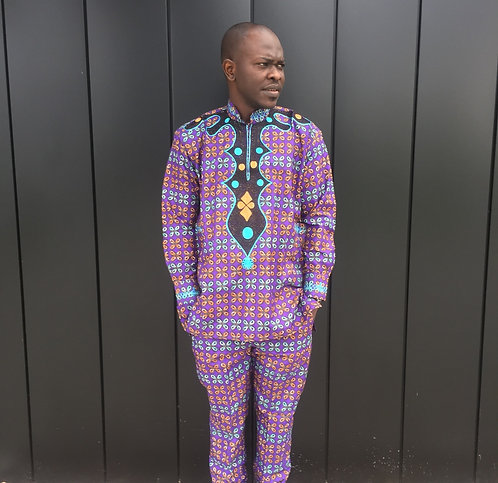 African Men Clothing, Men's African Print Embroidered Shirt and Trousers
