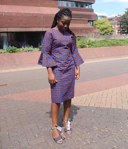 African Print Fitted Dress Flare Sleeve
