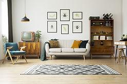 סלון מעוצב עם שטיח גיאומטרי