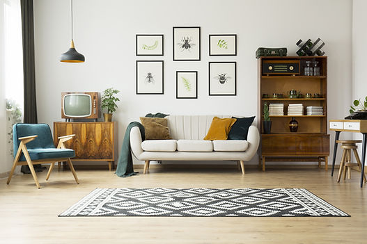 Living Room with black and white graphic flat weave rug, 3 cushion cream mid-century moden sofa, teal mid-century chair with natural wood frame, velvet throw pillows, framed picture collage of bug drawings, modern desk with white drawers, hanging black light