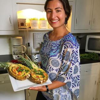 Hi! Here's me holding a vegan pineapple