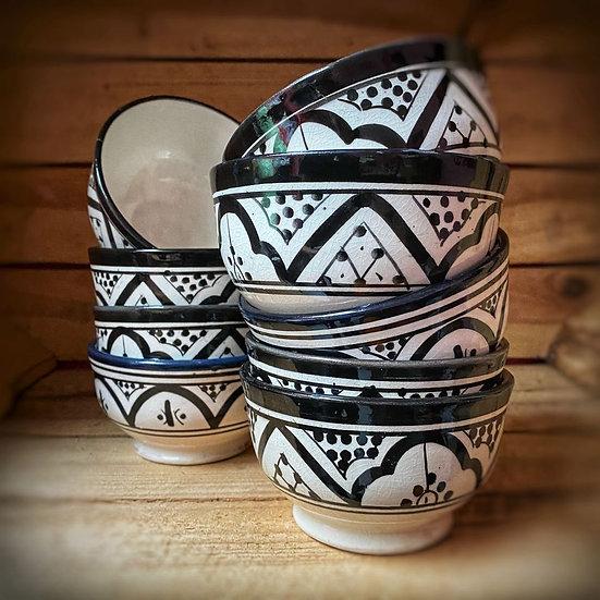 Moorse aardewerk kommetje Z/W 10 cm