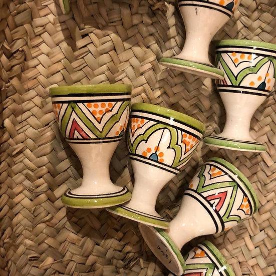 Moorse aardewerk Eierdoppen 6 stuks