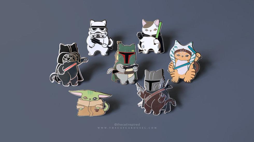 Cat Wars Enamel Pin Set