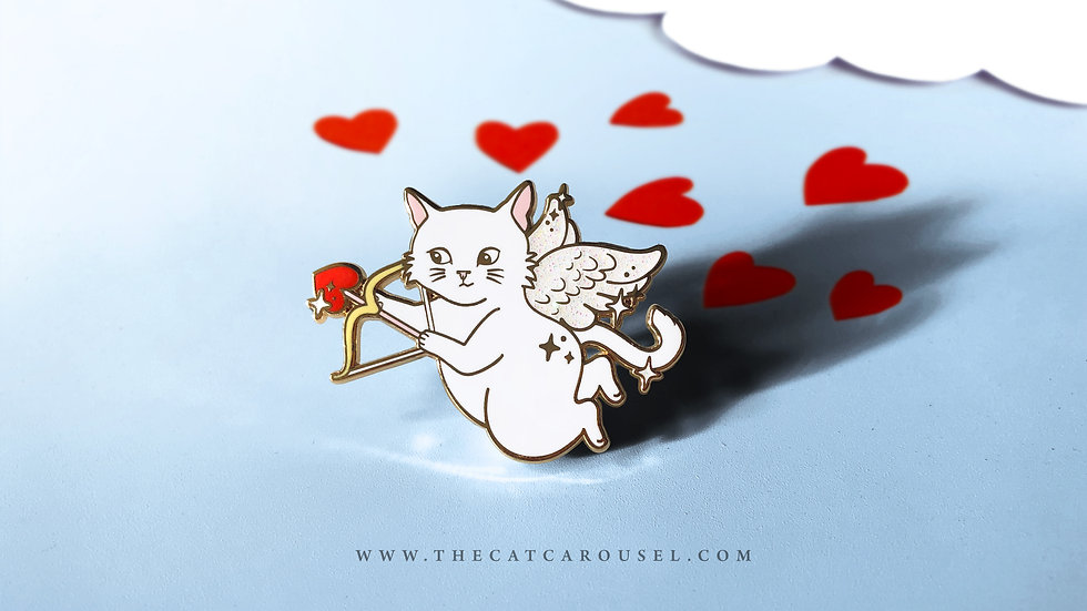 Cupid Cat Pin