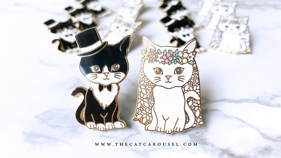 Mr & Mrs Meow pin set