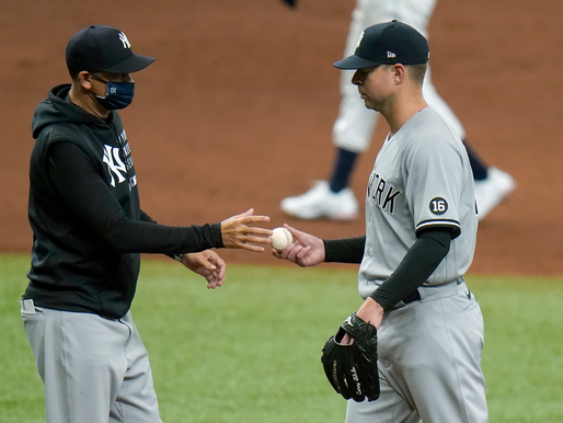 Yankees collapse after rally in third, drop first game of set against Rays