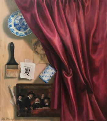Trompe-l'oeil with curtain
