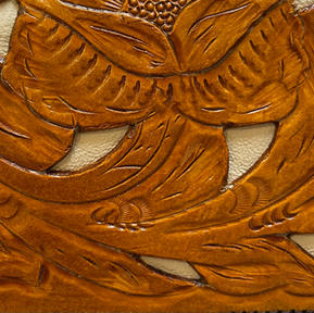 Tooled Saddle Tan with Ivory Inlay