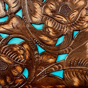 Tooled brown with Turquoise Inlay