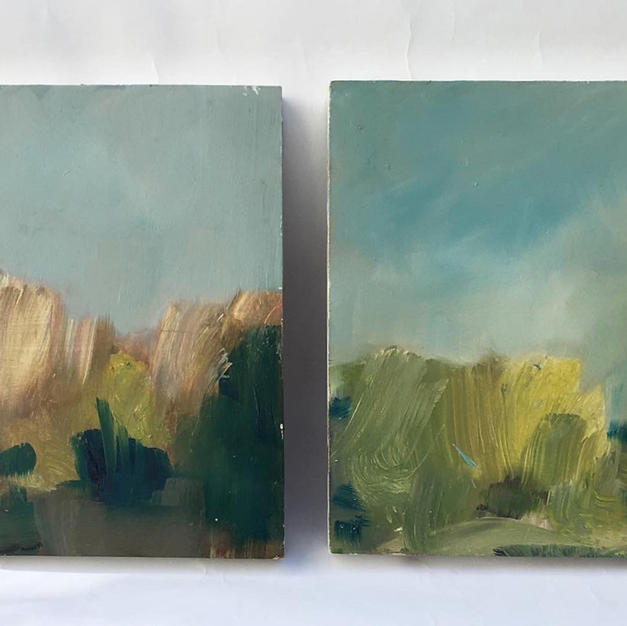 In the Grass all Wine Coloured - Diptych