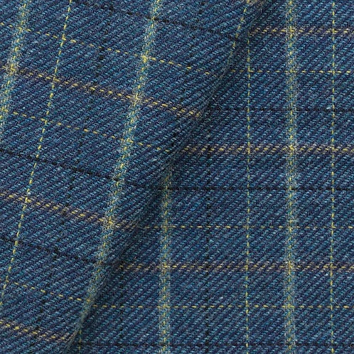 DARK BLUE HEATHER WITH YELLOW & BLACK WINDOWPANE