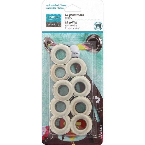 """UNIQUE SEWING Grommets Satin Silver - 11mm (3⁄8"""") - 15 pcs"""