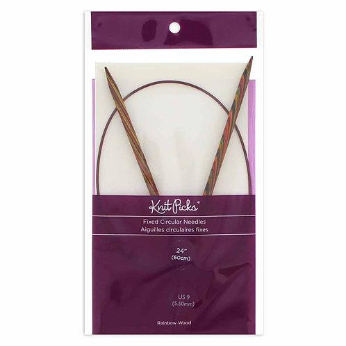 "KNIT PICKS Rainbow Wood Circular Knitting Needles - 60cm (24"") - 6mm/US 10"