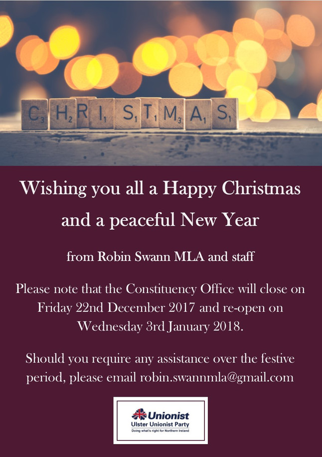 Constituency Office opening times over Christmas and New Year