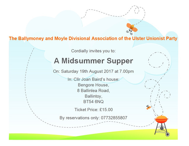 You are invited to a 'A Midsummer Supper' on Saturday 19th August 2017
