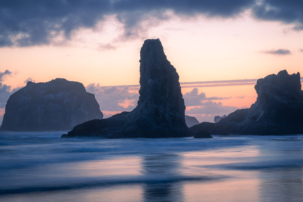 Bandon Beach on the Oregon coast at sunset