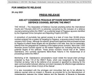 Press Release: ADC-ICT CONDEMNS PEGASUS SPYWARE MONITORING OF DEFENCE COUNSEL BEFORE THE IRMCT
