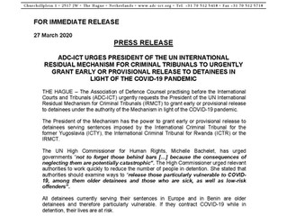 Press Release: ADC-ICT URGES PRESIDENT OF THE IRMCT TO URGENTLY GRANT EARLY OR PROVISIONAL RELEASE T