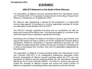 ADC-ICT Issues Statement on Killing of Lawyer Derk Wiersum